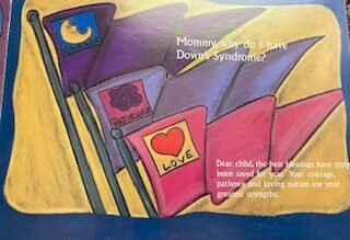 Pink, purple, and violet flags from the Mommy, Why Are My Eyes So Big? book